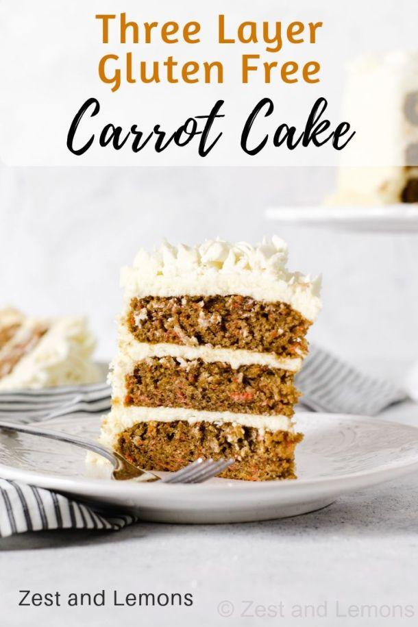 Three layer gluten free carrot cake with cream cheese frosting - Zest and Lemons #glutenfree #glutenfreecake #carrotcake