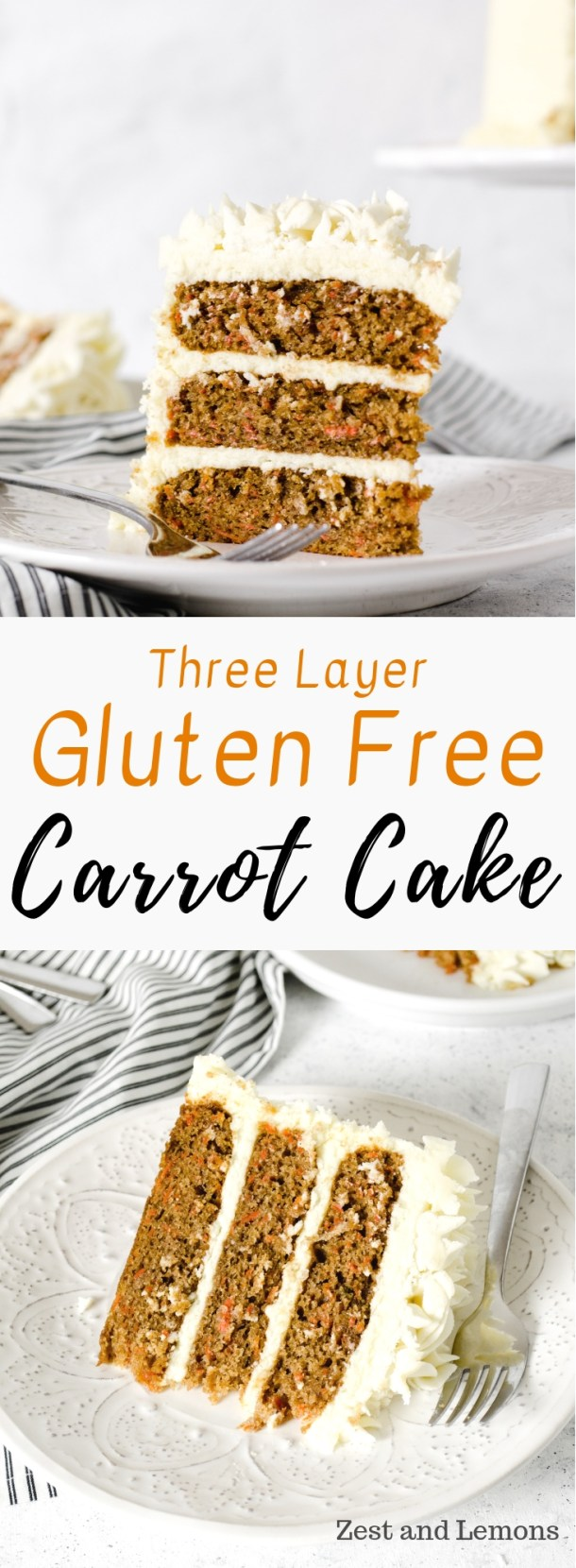 Three layer gluten free carrot cake with cream cheese frosting - Zest and Lemons #glutenfree #glutenfreecake #carrotcake