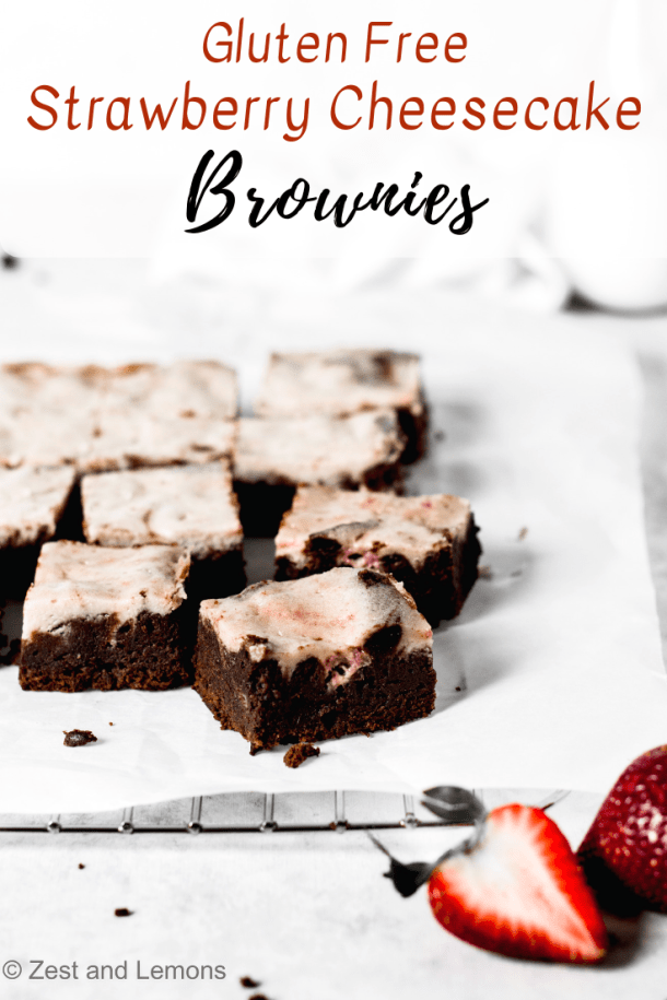 Gluten free strawberry cheesecake brownies, swirled with a strawberry mascarpone cheesecake batter - Zest and Lemons #glutenfree #brownies #cheesecakebrownies #glutenfreebrownies #chocolate