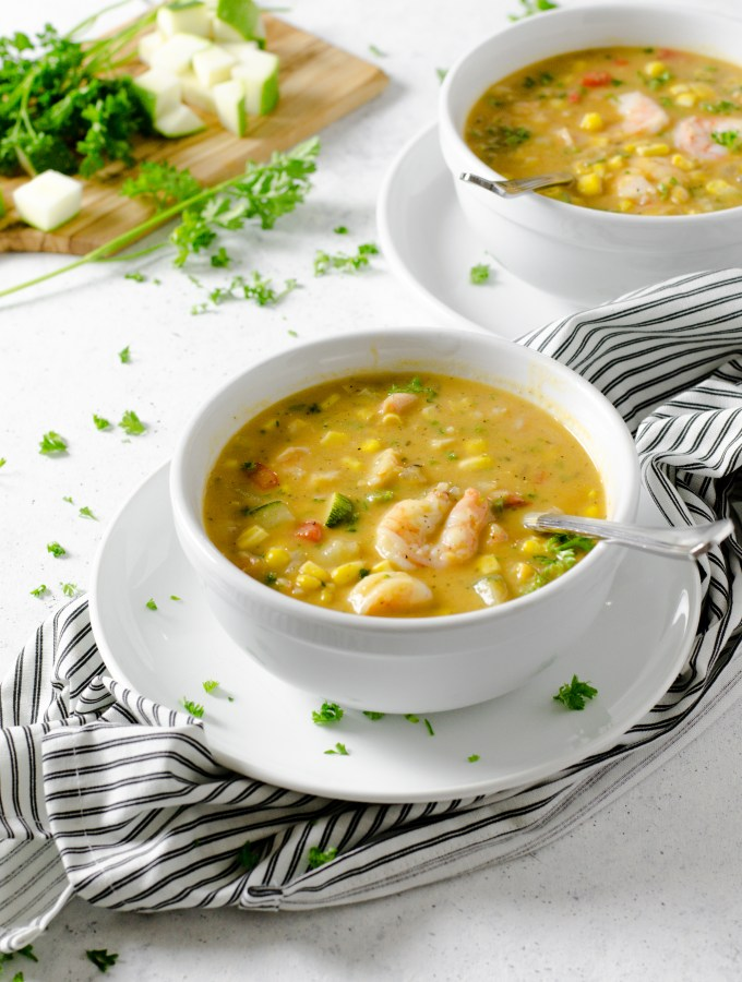 Summer Shrimp and Corn Chowder - Zest and Lemons