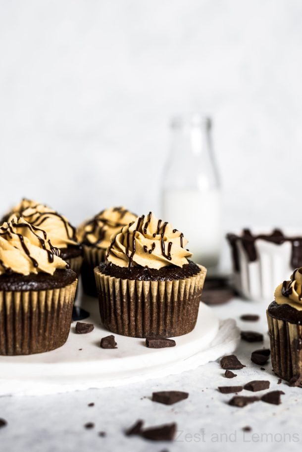 Gluten Free Chocolate Peanut Butter Cupcakes - Zest and Lemons