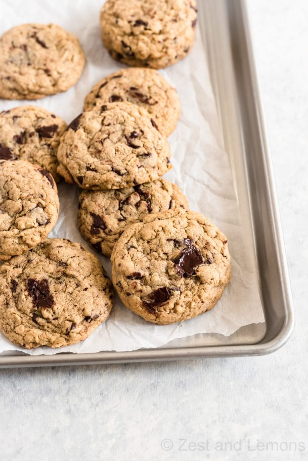 Gluten free oatmeal chocolate chunk tahini cookies - Zest and Lemons