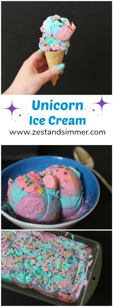 Unicorn Ice Cream - A magical and fun treat that is a delicious way to brighten your day! This no-churn recipe calls for only a few ingredients and is fun for kids and adults alike!