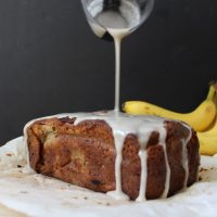 Rhubarb Banana Bread with Cardamom Glaze