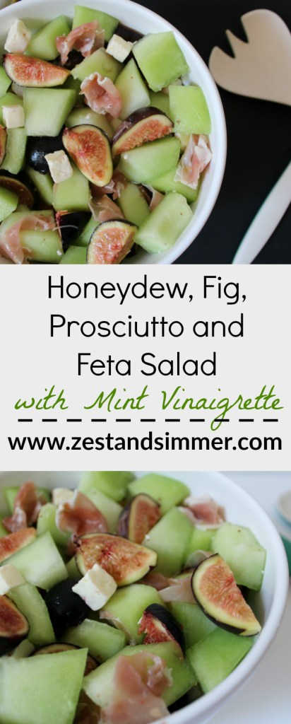 Honeydew, Fig, Prosciutto and Feta Salad with Mint Vinaigrette - a delicious summer salad with a lovely balance of sweet and salty. The minty vinaigrette pulls it all together with a refreshing zing! Best when melons are in season, it is a great addition to your summer alfresco meal.
