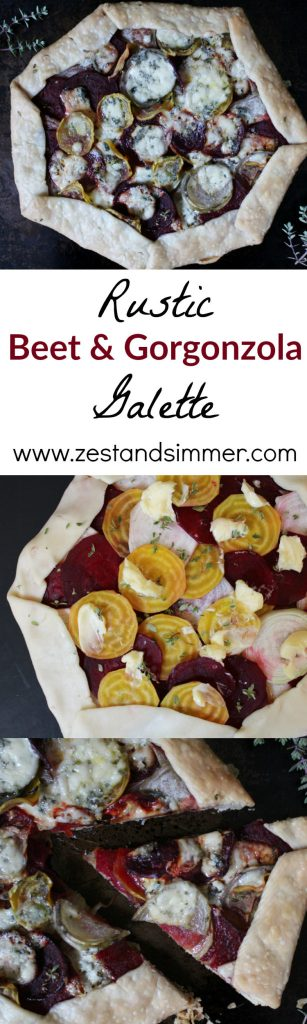 Rustic Beet and Gorgonzola Galette - this easy vegetarian galette combines layers of beets with bold gorgonzola on a flaky pie crust. A beautiful dish for any day of the week!