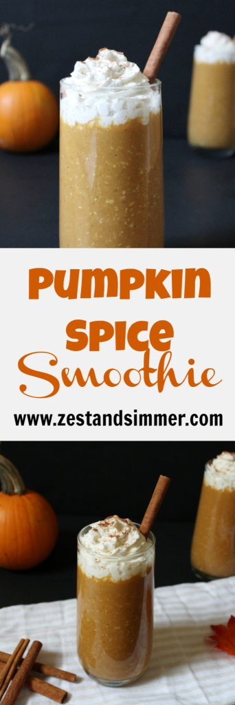 Pumpkin Spice Smoothie - a healthy way to enjoy pumpkin spice without a sugar overload! This cold and creamy smoothie is nutritious, filling. and will help satisfy your craving for a slice of pumpkin pie!