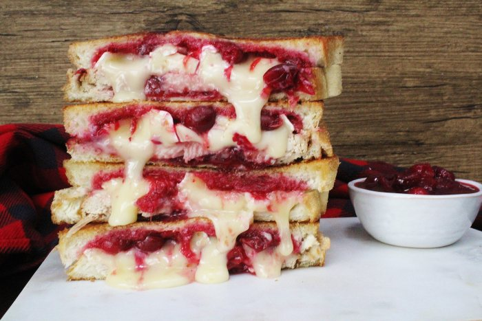 Turkey, Cranberry & Brie Grilled Cheese Sandwiches - this grilled cheese is the delicious answer of what to do with Thanksgiving leftovers! Full of Thanksgiving flavors and plenty of brie cheese, you may just end up loving your leftovers more than ever!