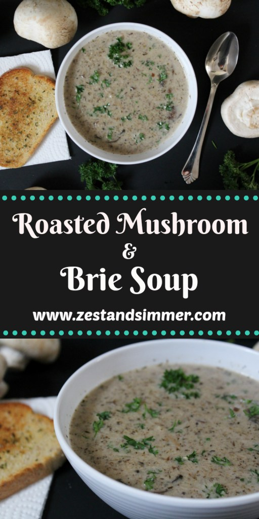 Roasted Mushroom and Brie Soup - a rich and creamy bowl of delicious mushroom soup with the luxurious twist of brie cheese that will completely wow all who try it! Packed with earthy, savory roasted mushrooms this recipe will beat out canned cream of mushroom soup any day.