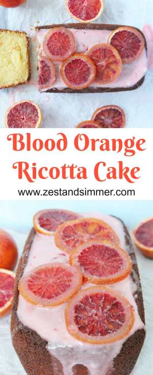 Blood Orange Ricotta Cake - Fluffy and moist citrus infused ricotta cake topped with a sweet and naturally pink blood orange glaze and candied blood oranges. Add some sunshine to your winter with this seasonal dessert!