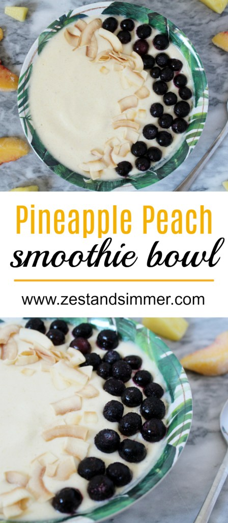 Pineapple Peach Smoothie Bowl - This is a healthy and delicious way to bring tropical vibes to your breakfast bowl! Customize the toppings on this refreshing smoothie bowl and you have the ultimate breakfast or snack ready in mere minutes!