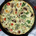 Veggie and Goat Cheese Frittata - a simple and delicious dish for breakfast or brunch! This frittata is loaded with vegetables and goat cheese, making it a hearty yet healthy option for both weekdays and weekends!