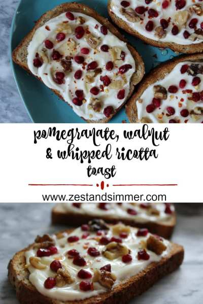 Pomegranate, Walnut and Whipped Ricotta Toast - Take toast from boring to fancy with this quick recipe! Smooth and creamy whipped ricotta is spread on toast,topped with pomegranate seeds and walnuts and finished with a pinch of chili flakes and a drizzle of honey. This is a lovely winter breakfast or snack.