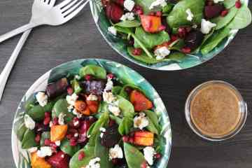 Beet, Sweet Potato and Goat Cheese Salad with Citrus Balsamic Vinaigrette - a loaded up salad made with fresh spinach, roasted sweet potato and beets, pomegranate and a love citrus dressing! The flavours of this healthy and delicious salad work well at any time of the year and can make for a nutritious side or meal that everyone will enjoy!