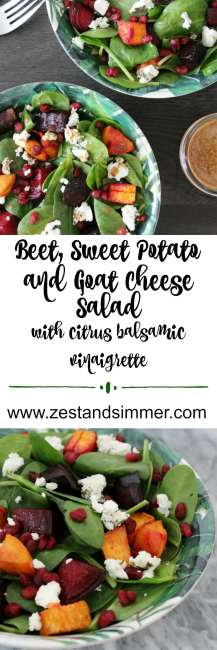 Beet, Sweet Potato and Goat Cheese Salad with Citrus Balsamic Vinaigrette - a loaded up salad made with fresh spinach, roasted sweet potato and beets, pomegranate and a lovely citrus dressing! The flavours of this healthy and delicious salad work well at any time of the year and can make for a nutritious side or meal that everyone will enjoy!