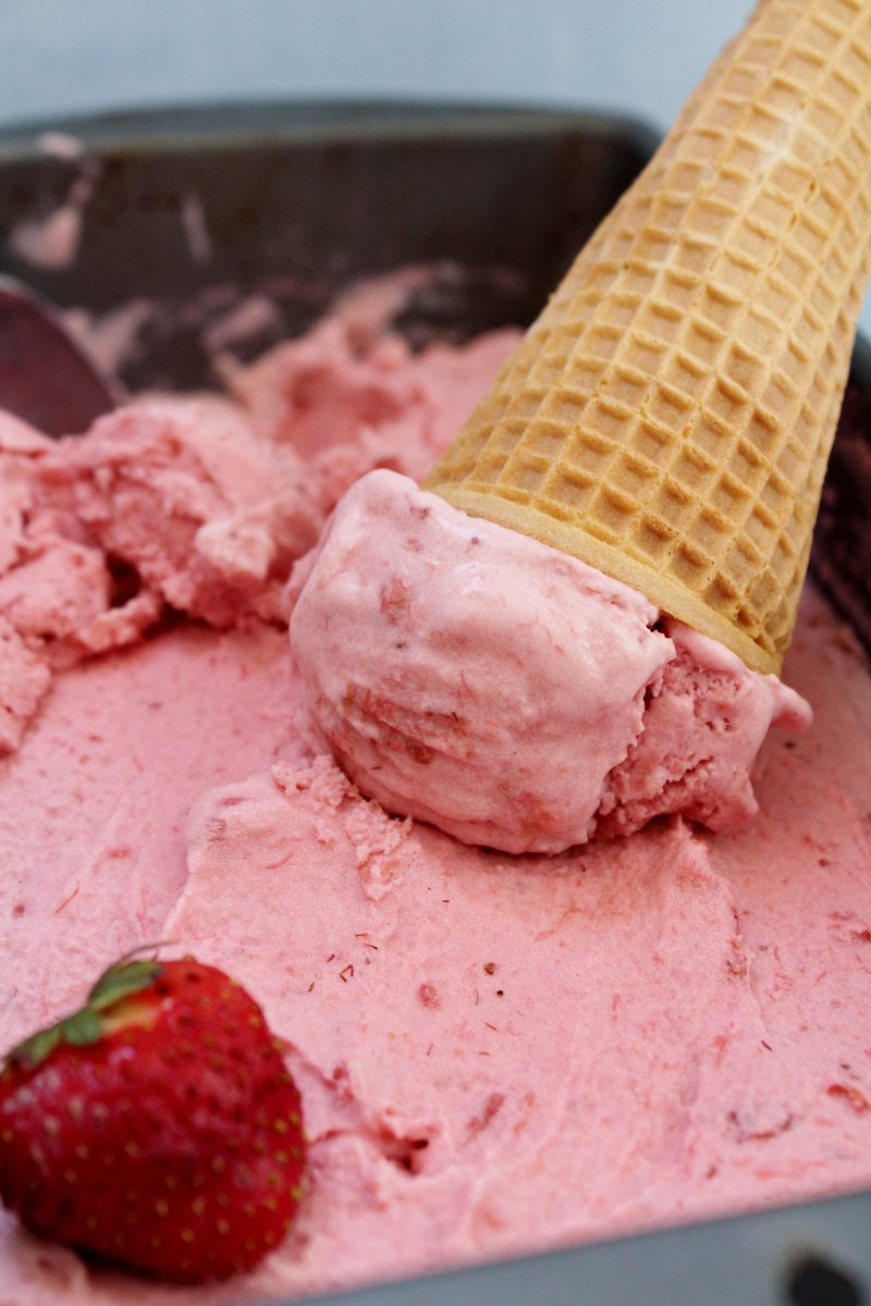 Vegan Strawberry Rhubarb Ice Cream