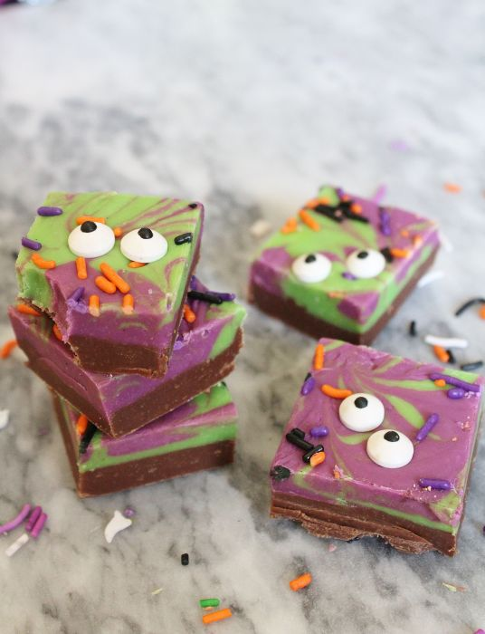 Halloween Monster Mash Fudge - a fun and easy-to-make Halloween fudge made with sweetened condensed milk and chocolate chips. This is a spooky and cute Halloween dessert that those of all ages will love to nibble on.