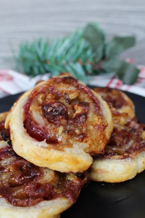 Cranberry Bacon Brie Pinwheels - flaky, buttery puff pastry pinwheels with a cheesy, savory filling with a hint of sweetness are an easy appetizer recipe to have on hand for the holidays!