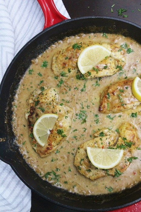 One Skillet Creamy Lemon Pepper Chicken - creamy, zest and peppery, this chicken dinner recipe is perfect for an easy-to-make romantic dinner or weeknight meal. Perfect served over mashed potatoes or rice with steamed vegetables on the side!