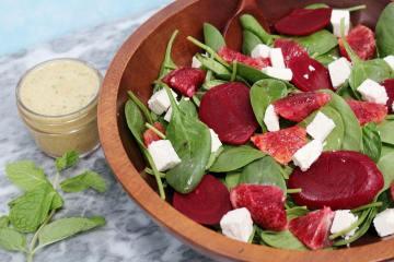 Blood Orange & Beet Salad - a bright and fresh salad with roasted beets, blood orange segments, feta and a homemade blood orange mint vinaigrette.