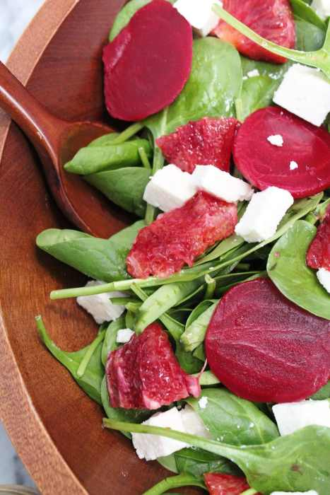 Blood Orange & Beet Salad - a bright and fresh salad with roasted beets, blood orange segments, feta and a homemade blood orange mint vinaigrette. A wonderful winter citrus salad for dinner parties or healthy lunches!