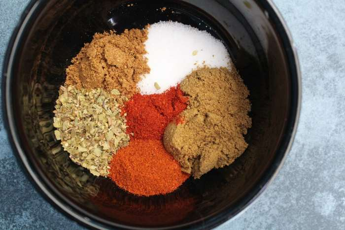 Spices used in Mexican Chicken Noodle Soup: salt, cumin, paprika, chipotle powder, coriander and oregano