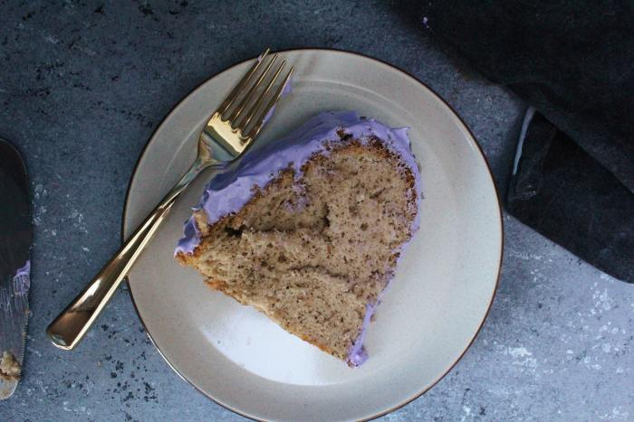 A slice of Earl Grey Chiffon Cake served on a plate.