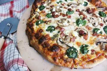 Fiddlehead Pizza with Pancetta, Mushrooms and Goat Cheese