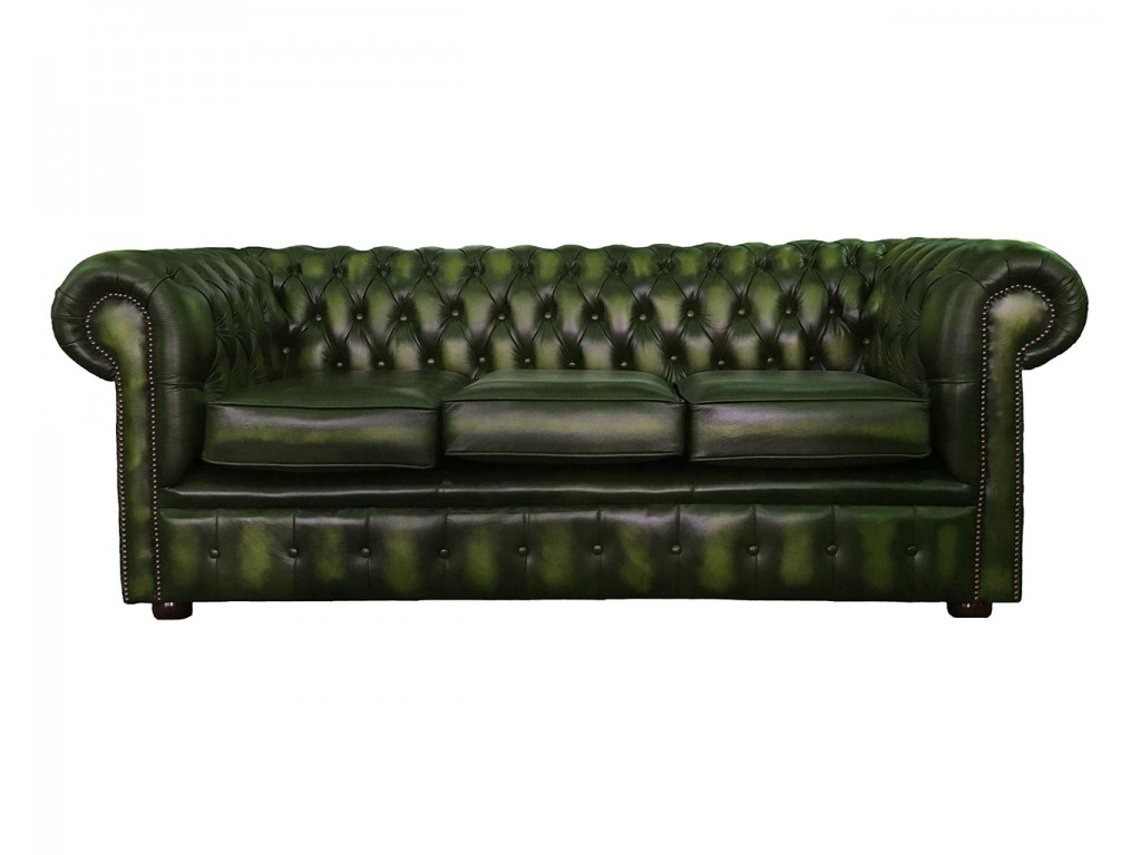 chesterfield pull out sofa bed s peng sofascore genuine leather antique green three seater