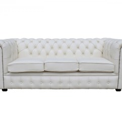 Chesterfield Pull Out Sofa Bed Zuo Modern White Genuine Leather 3 Seater