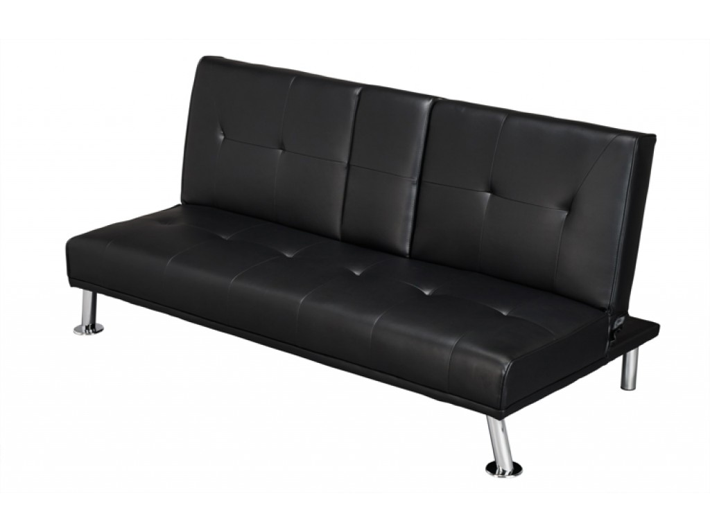 fold down sofa beds uk mission style console table luciana cinema bed black faux leather