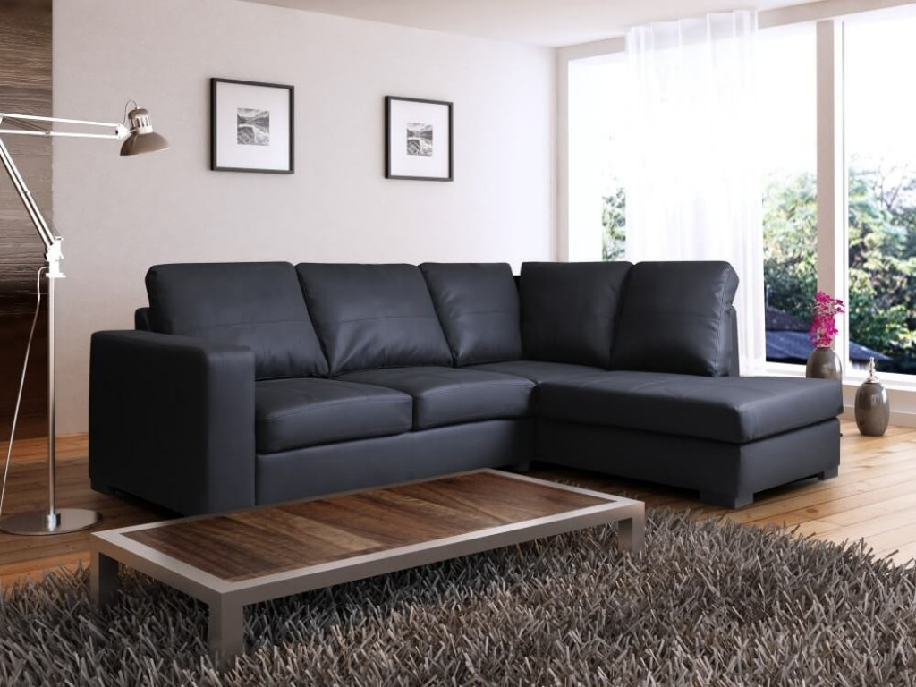 venice right hand corner sofa black faux leather w chaise lounge