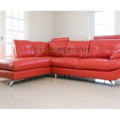 Verona Leather Sofa Reviews Recliner Price In Desh Stylish Red Left Large Corner Faux