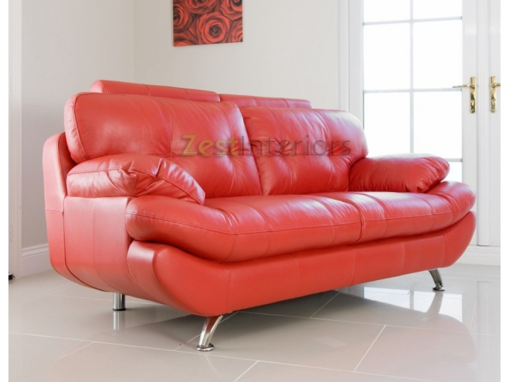 verona leather sofa reviews genuine l shaped lounge with chaise 3 seater red faux w adjustable headrest