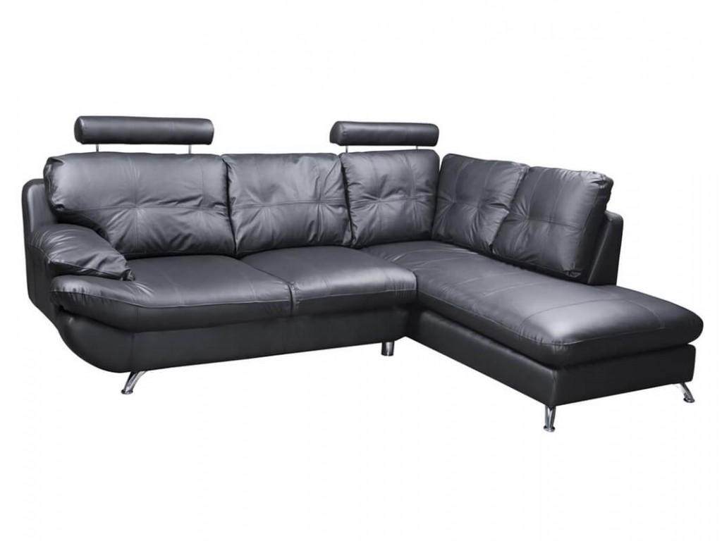 verona right black corner faux leather sofa w headrest