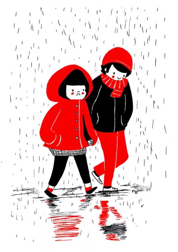 love is holding hands in rain