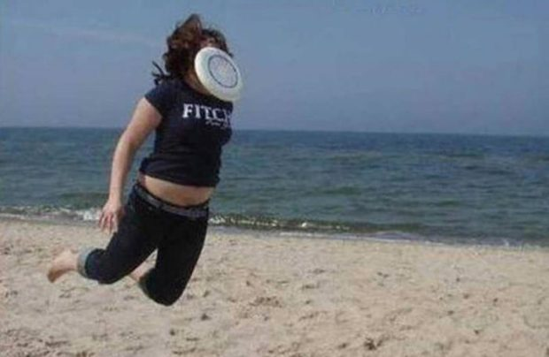 frisbee on girls face