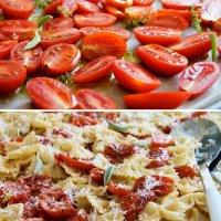 פסטה עם עגבניות צלויות - או רוטב לפסטה בתנור