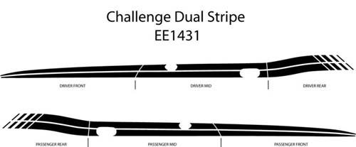 Dodge Challenger Duel Side Stripe Decal Graphics Kit 2008