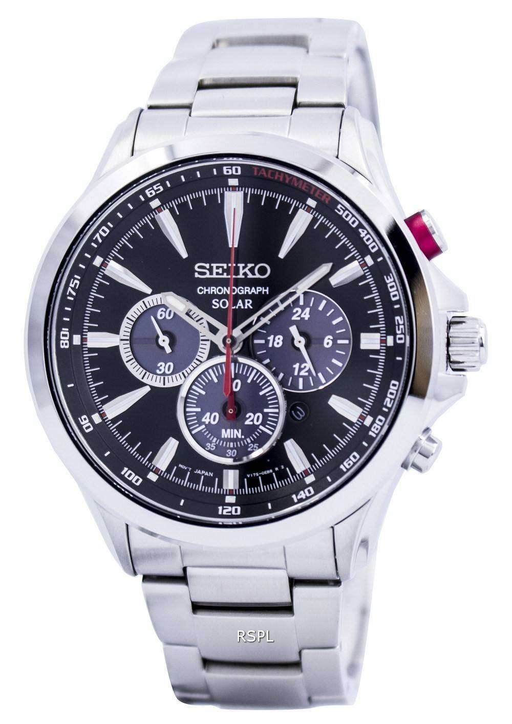 Seiko Solar Chronograph Tachymeter SSC493 SSC493P1 SSC493P Mens Watch - ZetaWatches