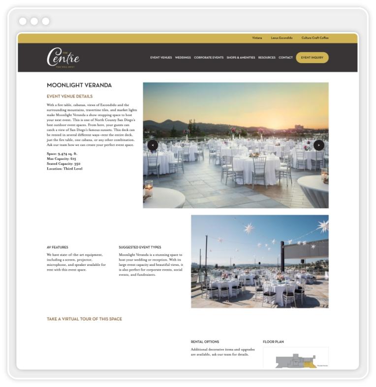 Screenshot of The Centre's website showing venue landing page for Moonlight Veranda