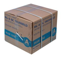 Kabel RG6U BC Trischield (Karton 250mb) - Biały PE