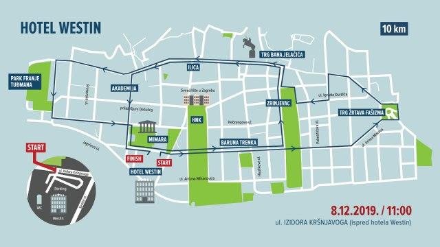 trasa utrke na 5 km / zagreb advent run 2019