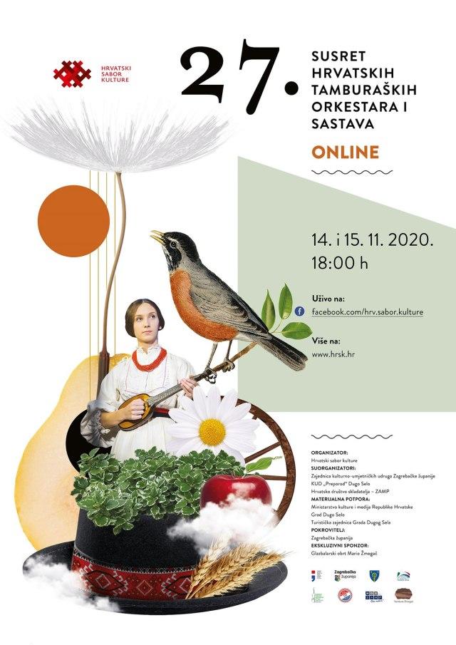 najavni plakat - 27. susret hrvatskih tamburaških orkestara - 2020
