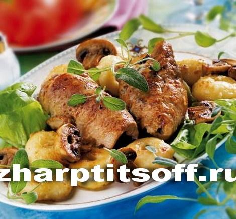 Зразы из кролика, колбасы вареной, яйца, сыра
