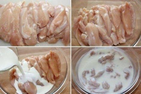 Мякоть курицы тушеная в кислом молоке с приправами. Тушим курицу.