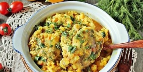 Азербайджанская чыхыртма из курицы. Курица луково-томатный соус.