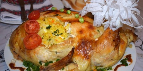 Курица, фаршированная рисом духовка. Запекаем целиком с овощами.
