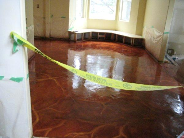 Kitchen stained concrete floor high gloss epoxy  Art