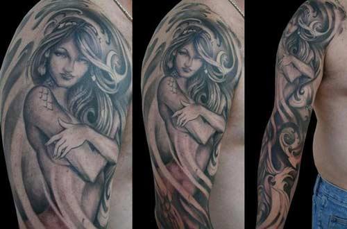Rockabilly Tattoo Mermaid: Gothic Fantasy Big Eye Mermaid Art